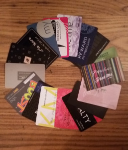 pile of loyalty cards