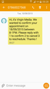 snapshot of text from Virgin Media